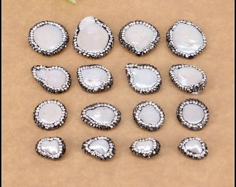 10pcs Mix Style,Nature Freshwater Pearl Spacer Loose Beads With Crystal Rhinestone,Druzy Pearl Gemstone Connector Beads For Jewelry Making