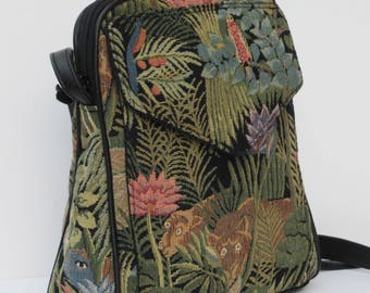 SHOULDER BAG Fabric and Leather It s a Jungle Out There by Elizabeth Z Mow