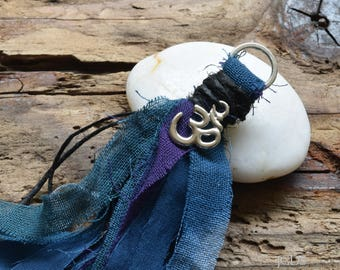 Mala Tassel, Hand Dyed Fibers, Silver Ohm, Handmade Tassel, Blue/Purple, Jewelry Crafts, DIY