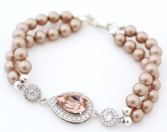 Blush Bridal Bracelet, Champagne Pearl Bridal Bracelet, Pearl Bridal Jewelry, Pearl Wedding Bracelet, Pearl Wedding Jewelry Swarovski
