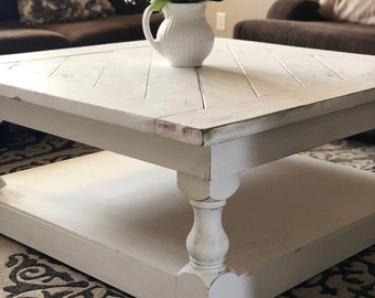 Large Square Rustic White Wooden Coffee Table | Distressed Coffee Table | Large  Square Coffee Table | White Table