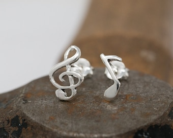 Sterling Silver Music Note Earrings|Treble Clef Earrings|Silver Treble Clef Earrings|Music Note Earrings|Guitarist Earrings|Pianist Earrings