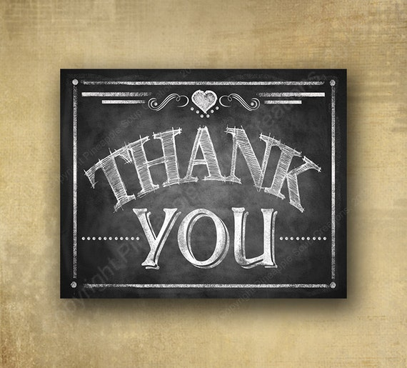 Thank You PRINTED chalkboard signage, thank you sign, wedding photo props, graduation party sign, graduation photo cards prop,  shower sign