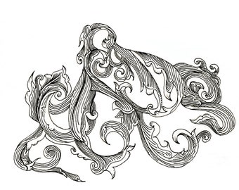 "Octopus Drawing - Scrollwork Cephalopod  - Fine Art Giclee Print of 6""x4"" Black and White Linework Drawing"