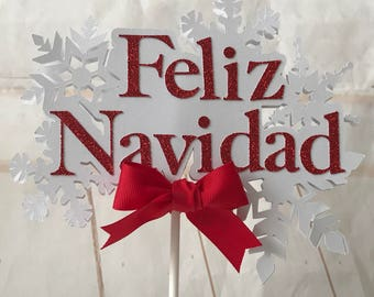 Merry Christmas cake topper, Merry Christmas party, Feliz Navidad cake topper, Feliz Navidad party