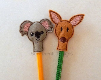 ITH Australian Wildlife Kangaroo & Koala Pencil Topper set (4x4) Instant digital download