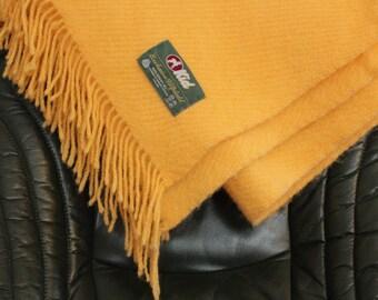 Wool Blanket, Mid Century, Yellow 100% wool, Vintage KID of Finland
