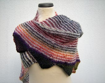 "Scarf, triangle shawl, hand knit, wrap, triangle cloth ""strips and pips"""