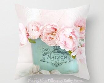 Peonies Throw Pillow, Shabby Chic Decor, Paris Peony Pillow, Paris Peonies Pillow, Floral Pillows, Pink Peony Pillow,Decorative Throw Pillow