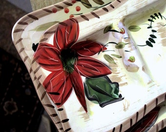 Hand Painted Floral Porcelain Tray Set