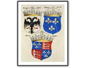 Heraldic Coat of Arms Prints Shields Renaissance European Heraldry Medieval Crowns Crest Wall Art Man Cave Art Decor Antique Maritime ap 165