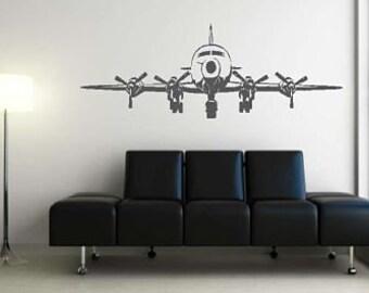 Huge 4 Engine Airplane Vinyl Wall Decal