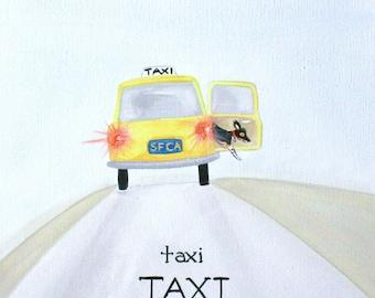 "Taxi Print, Taxi Taxi 5x8"", Hawk art, san francisco taxi print, yellow taxi, housewares, room decor"