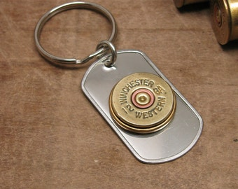 Shotgun Casing Jewelry - Bullet Jewelry - Holiday Gift for Man - 12 Gauge Shotgun Casing Stainless Dog Tag Key Chain or Key Ring