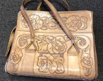 Vintage Hand Tooled Leather Purse Bag Roses Upcycle