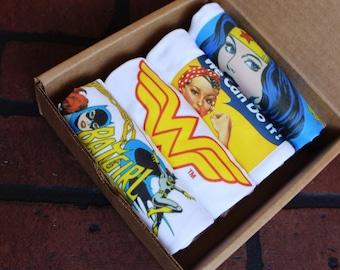 Set of 4 Girl Power Baby Bodysuits in Gift Box