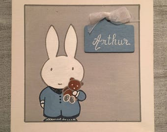 """Table/child/baby blue and gray name door Plaque: """"The rabbit and his teddy bear"""""""