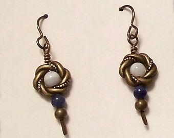 Antique Bronze Wreath with Mother of Pearl & Blue Sodalite Earrings by Carol Wilson of Je t'adorn