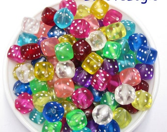 12 Cubic Dice Acrylic Beads. Jelly Tone. Mix Colors