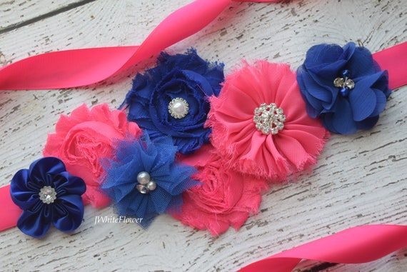 Flower Sash, Hot pink and royal Sash , flower Belt, maternity sash