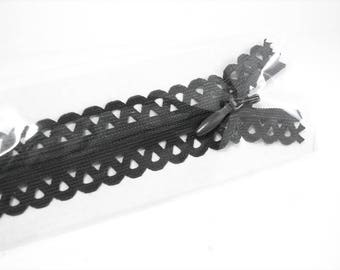 Zipper 40cm lace decorative graphite grey