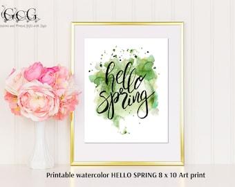 HELLO SPRING Art Print, Watercolor Quote Wall Art, Wall Decoration, Printable Art, Wall Art, Quote Prints, Instant download, Fun Art Print