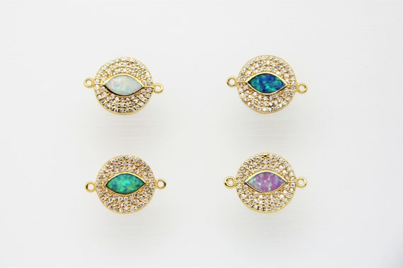 Synthetic Opal Eye With CZ Micro Pave 14mm Coin Connector