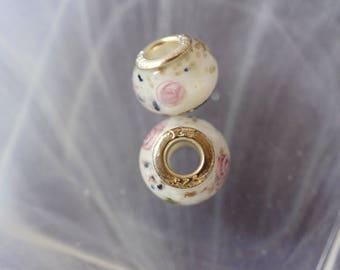 Silver lampwork charm bead white