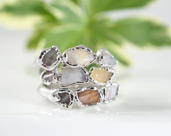 Raw Moonstone Ring • June Birthstone Ring • Triple Stone Ring • Stacking Ring • Gift for Women •Love Ring •Raw Gemstone Ring • Dainty Ring