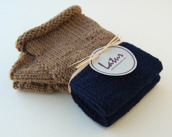 Chocolate Navy Fingerless Hand Warmers Holiday gift for her Christmas gift