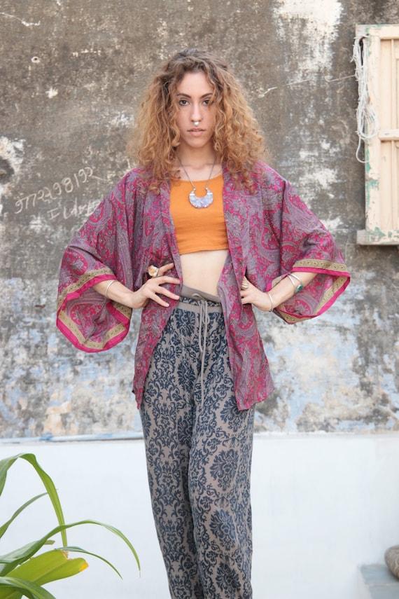 PINK PAISLEY KIMONO - Stevie nicks - Crop top - Cover Up - Bohemian Kimono - Kaftan - Bespoke - Handmade - Beach - Summer - Maternity