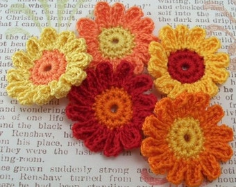 Crocheted Fall Flowers - 12 Petals