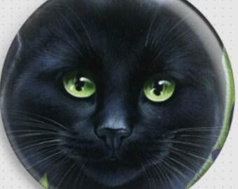 Black Cat Needle Minder, 'Black Tulips', Irina Garmashova-Cawton, Cross Stitch Keeper, Kitten Fridge Magnet, Cross Stitch Accessory,