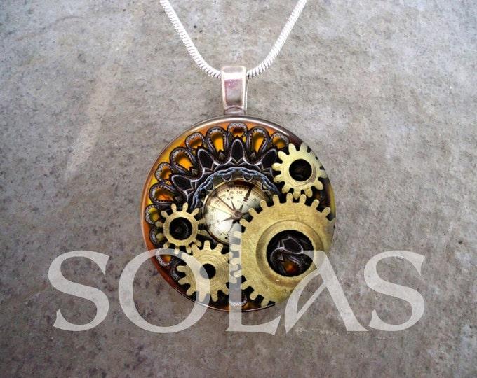 Steampunk Necklace - Glass Pendant Jewelry - Steampunk 1-6