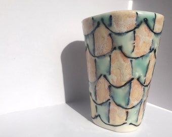 Perfectly Oval Cup / Tumbler / Juice Cup / Pink and Blue / Abstract Organic Handmade Pottery Ceramics One of a Kind