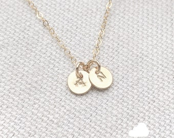 "NEW - Two Tiny Customized Initial 1/4"" Disc Necklace in gold - Little Dainty Disc Charms - Personalized - Bridal Gift - thelovelyraindrop"