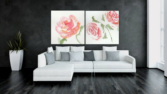 Large Custom order floral painting Flower artwork white and pink rose painting xl painting original painting of flowers on canvas