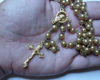 Opulent, gold coloured, glass pearl, handmade, beaded  Catholic Rosary