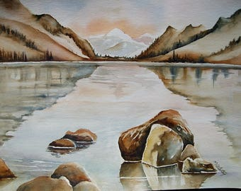 Watercolor painting original, free shipping, Lake in value Hautes-Pyrénées, nature, watercolor painting