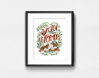 You Are My Home | Two Foxes in Love Poster | Sweet Illustration | Hand lettering | Watercolor Art Print | Wall Decor | 8x10 | 11x14