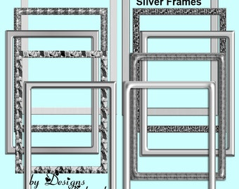 Silver Frames Digital Scrapbooking Kit. Scrap 4 Hire Friendly Frames INSTANT DOWNLOAD