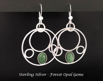 Forest Opal Earrings: Sterling Silver Earrings with Forest Opal Gemstones | Dangle Silver Earrings, Gemstone Earrings, Opal Earrings 280