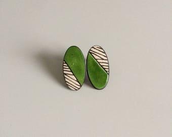 Earrings graphic, green ceramic, earrings, green, graphic