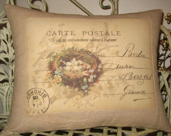French Carte Postale Bird Nest Pillow with French Script  - French Decor Throw Pillow