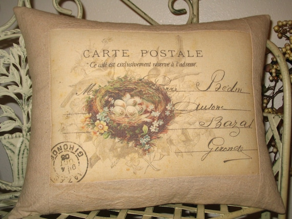 french carte postale bird nest pillow with french script. Black Bedroom Furniture Sets. Home Design Ideas