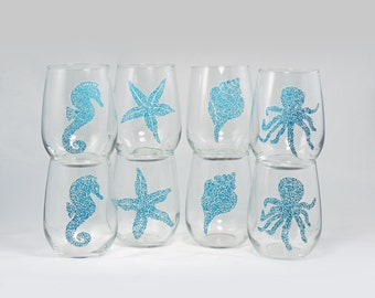 Beach wine glasses - Set of 8 hand painted stemless wine glasses - Sea Glass Collection