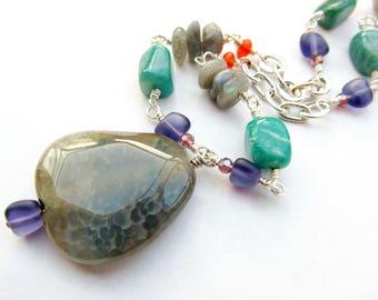Colorful Boho Agate Labradorite Amazonite Pendant Necklace, Purple Orange Turquoise Beaded Gemstone Necklace