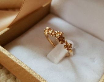 14K Gold Floral Ring, Nature Ring, Delicate Ring, Alternative wedding ring, Nature Jewelry, Alternative wedding band, Flower Gold Band