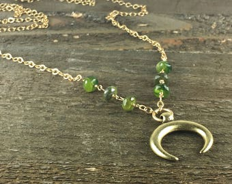 Long Gold Necklace With Olive Green Vesuvianite Gemstones and Double Horn Pendant / Gift For Her / Long Layering Necklace / Winter Jewelry