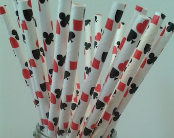 Casino Playing Cards Party Paper Straw ~ hearts, clubs, diamonds, spades